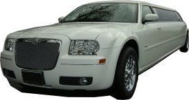 White Chrysler limo for hire, School Proms, Birthday celebrations and anniversaries. Cars for Stars (Romford)