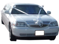 Cars for Stars (Romford) - Wedding Limo. White Lincoln stretched wedding limousine with white ribbons